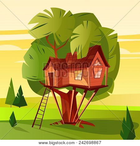 Tree House Vector Illustration Of Wooden Hut With Ladder And Windows In Forest. Cartoon Woodland Cab