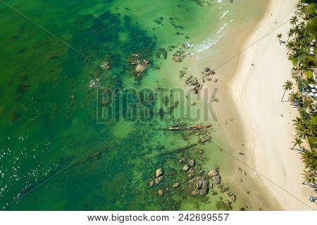 Ariel View Hua Hin Beach In Thailand. Beautiful High Angle View Sea Sky And Seaside