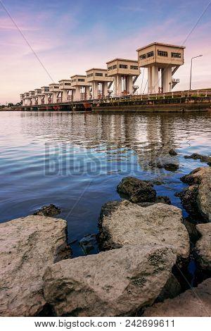 Uthokwipat Prasit Watergate Or Barrage At Pak Panang For Prevent Seawater Intrusion Enter The River,