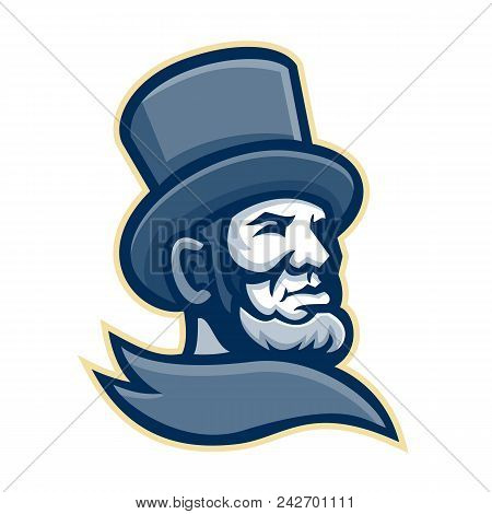 Mascot Icon Illustration Of Head Of The 16th American President Abraham Lincoln Wearing Top Hat Or T