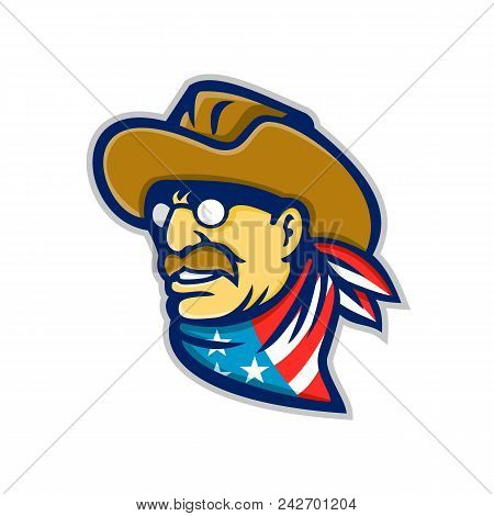 Mascot Icon Illustration Of Head Of An American Statesman, Writer And 26th President Of The United S