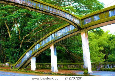 Art Deco Style Bridge Covered In Moss Over The Wailuku River Surrounded By A Tropical Rain Forest Ta