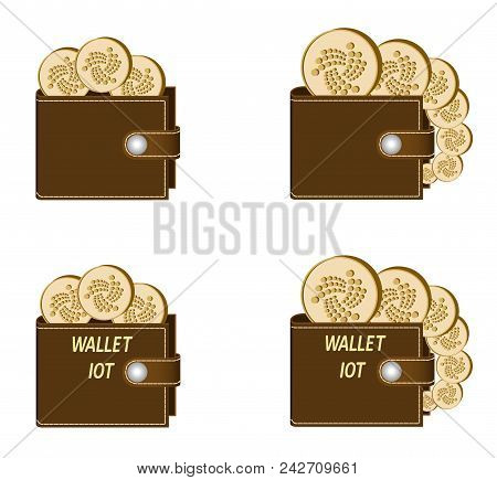 Set Of Brown Wallets With Iota Coins On A White Background , Crypto Currency In The Wallet,sign  Cry