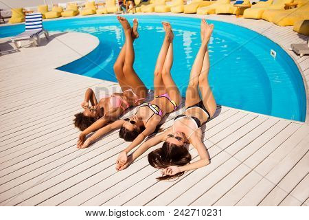 Body Care Pedicure Suntan Lotion Rest Cream Dream Health Concept. Pretty Excited Having Fun Relaxed