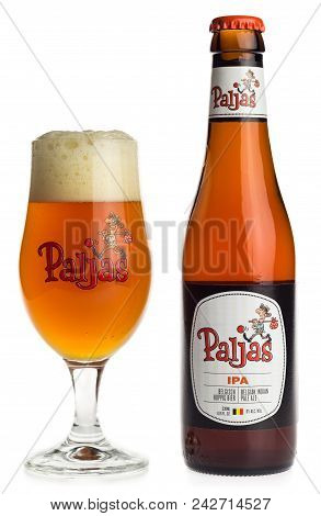 Groningen, Netherlands - January 12, 2018: Bottle And Glass Of Belgian Paljas Ipa Beer Isolated On A