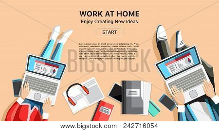 Self-employed Persons In Home Office Workspace. Top View People Working On Laptops Vector Illustrati