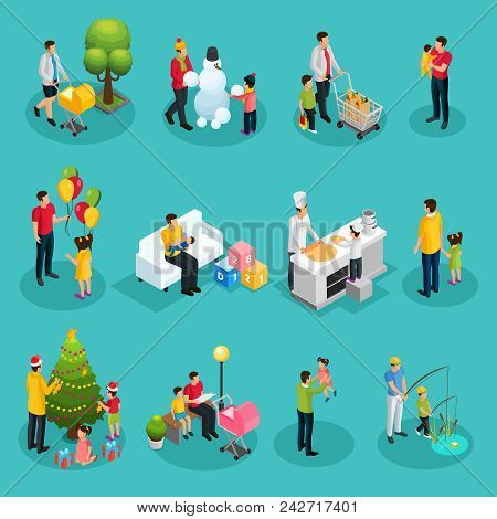 Isometric Fatherhood Elements Set Of Father Walking Playing Shopping Cooking Reading Decorating Chri