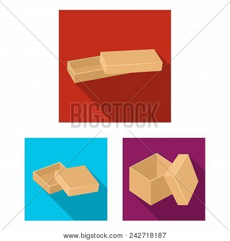 Different Boxes Flat Icons In Set Collection For Design.packing Box Vector Symbol Stock  Illustratio