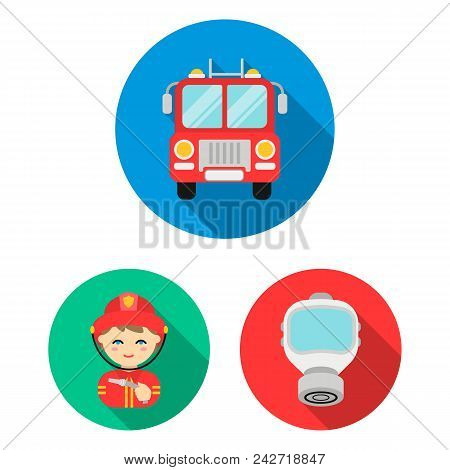 Fire Department Flat Icons In Set Collection For Design. Firefighters And Equipment Vector Symbol St