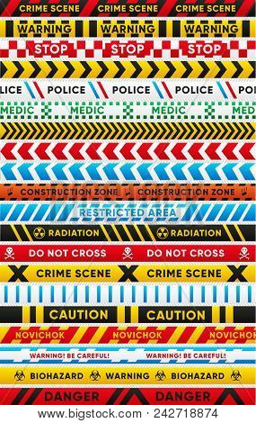 Various Warning Tapes Isolated Set. Caution, Biohazard, Danger, Radiation, Police, Crime Scene, Novi