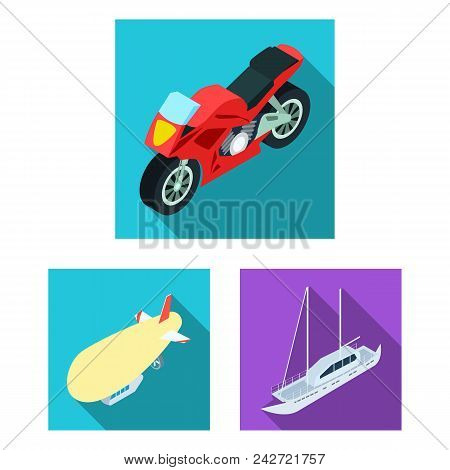 Different Types Of Transport Flat Icons In Set Collection For Design. Car And Ship Isometric Vector