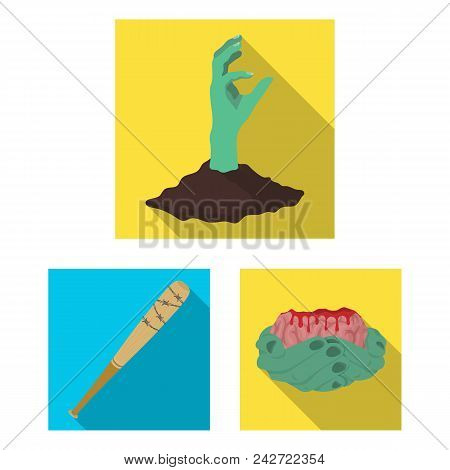 Zombies And Attributes Flat Icons In Set Collection For Design. Dead Man Vector Symbol Stock  Illust