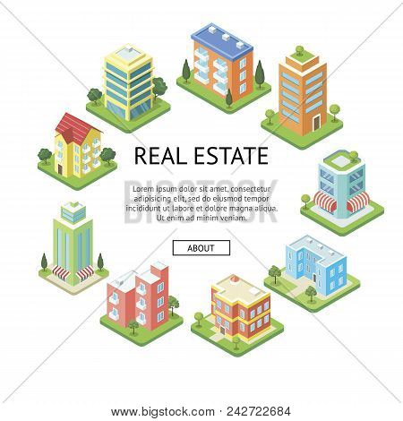 Real estate company advertising. Modern skyscrapers and cozy condo building isometric vector illustration. City street with residential houses, urban infrastructure with green decorative plants. poster