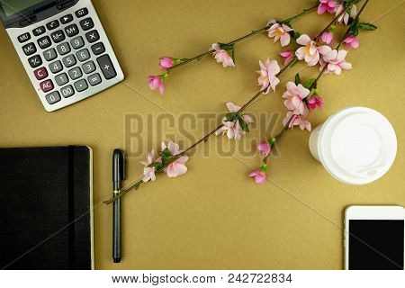Flat Lay Toosl Accountant , Working Space For Accountant , Topview