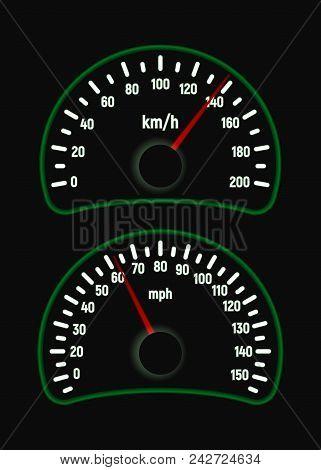 Car Speedometer Set. Mile And Kilometer Per Hour. Speed Measurement. Vector Illustration. Green Glow