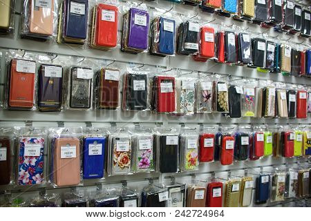Vichuga, Russia - April 21, 2018: Cell Phone Cases On The Shelf In A Retail Store