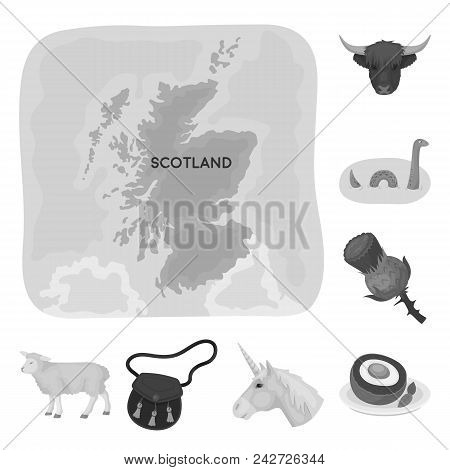 Country Scotland Monochrome Icons In Set Collection For Design. Sightseeing, Culture And Tradition V