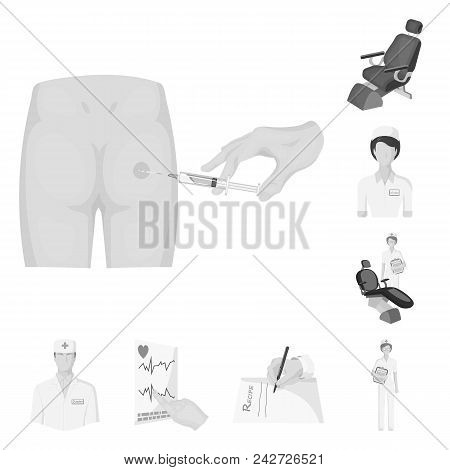 Medicine And Treatment Monochrome Icons In Set Collection For Design.hospital And Equipment Vector S