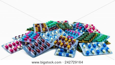 Colorful Of Antibiotic Capsule Pills Isolated In Blister Pack Isolated On White Background With Copy