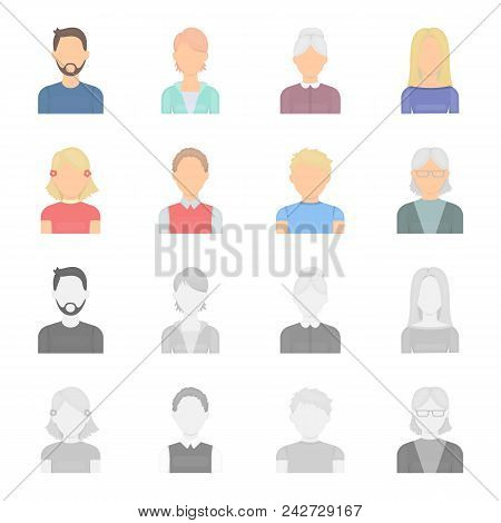 Red-haired Boy, Teen Girl, Grandmother Wearing Glasses.avatar Set Collection Icons In Cartoon, Monoc