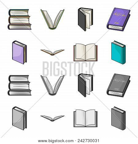 Various Kinds Of Books. Books Set Collection Icons In Cartoon, Monochrome Style Vector Symbol Stock