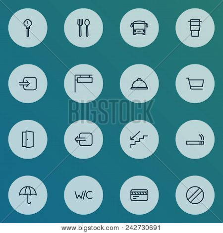 Direction Icons Line Style Set With Way Out, Cart, Card And Other Steps Down Elements. Isolated  Ill