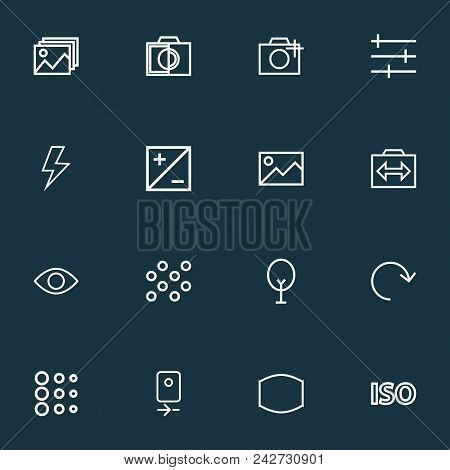 Photo Icons Line Style Set With Photographing, Setting, Round And Other Switch Cam Elements. Isolate