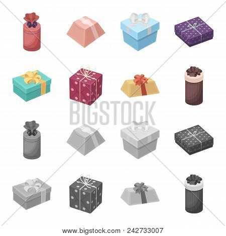 Gift Box With Bow, Gift Bag.gifts And Certificates Set Collection Icons In Cartoon, Monochrome Style