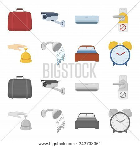 Call At The Reception, Alarm Clock, Bed, Shower.hotel Set Collection Icons In Cartoon, Monochrome St