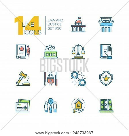 Law And Justice - Set Of Line Design Style Icons Isolated On White Background. High Quality Minimali