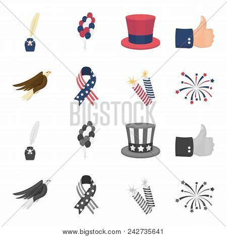 American Eagle, Ribbon, Salute. The Patriot Day Set Collection Icons In Cartoon, Monochrome Style Ve