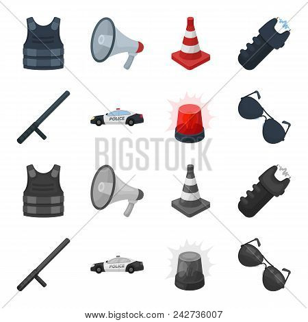 Police Baton, Auto, Flasher, Glasses.police Set Collection Icons In Cartoon, Monochrome Style Vector