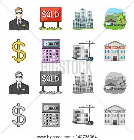 Calculator, Dollar Sign, New Building, Real Estate Offices. Realtor Set Collection Icons In Cartoon,