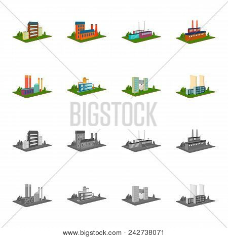 Processing Factory, Metallurgical Plant. Factory And Industry Set Collection Icons In Cartoon, Monoc