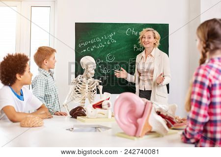 Biology Lesson. Cheerful Smart Teacher Standing Near The Blackboard While Conducting An Anatomy Less