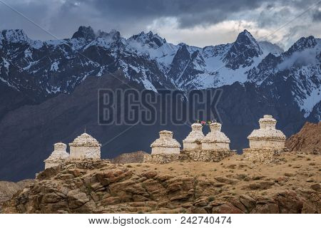 Buddhist chortens or stupas in Likir Gompa monastery, Leh district, Ladakh, Jammu and Kashmir, Northern India