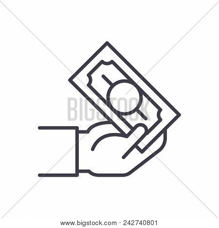 Cash Transactions Black Icon Concept. Cash Transactions Flat  Vector Website Sign, Symbol, Illustrat