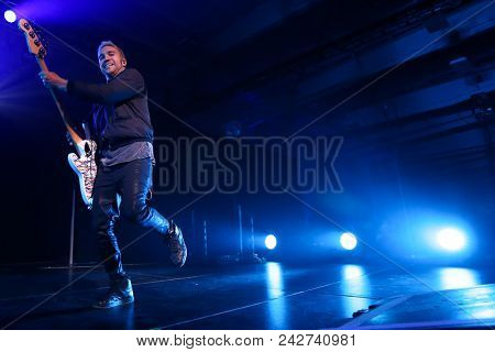 NEW YORK-DEC 8: Pete Wentz of Fall Out Boy performs onstage at Pandora's Holiday Show at Pier 36 on December 10, 2015 in New York City.