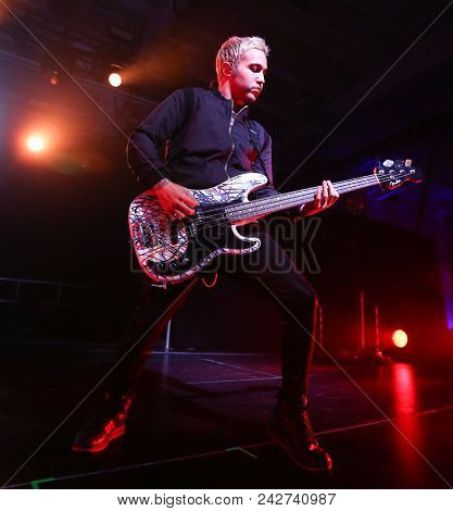 NEW YORK-DEC 8: Musician Pete Wentz of Fall Out Boy performs onstage at Pandora's Holiday Show at Pier 36 on December 10, 2015 in New York City.