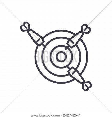 Darts Competition Black Icon Concept. Darts Competition Flat  Vector Website Sign, Symbol, Illustrat