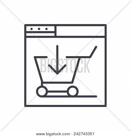 E Shop Purchase Black Icon Concept. E Shop Purchase Flat  Vector Website Sign, Symbol, Illustration.