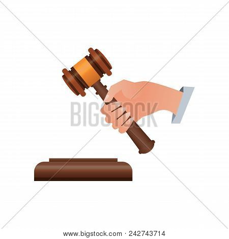Wooden Judge Gavel In Human Hand Isometric 3d Element. Law And Judgment, Auctioneer Tool Vector Illu