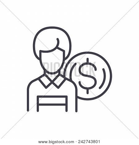 Employee Salary Black Icon Concept. Employee Salary Flat  Vector Website Sign, Symbol, Illustration.