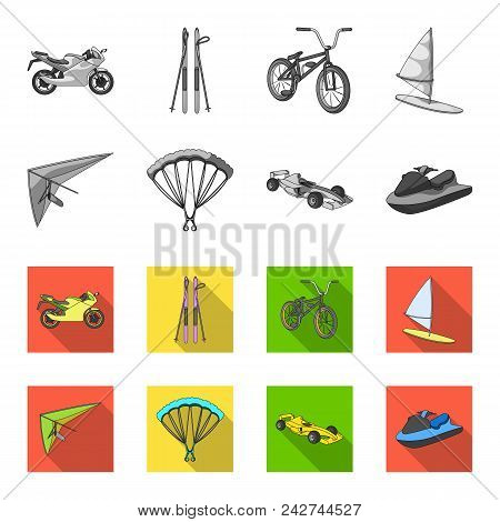 Hang Glider, Parachute, Racing Car, Water Scooter.extreme Sport Set Collection Icons In Monochrome,