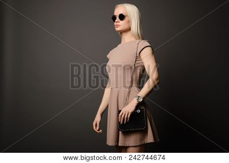 Beautiful Girl With A Handbag And Sunglasses Isolated On Grey Background
