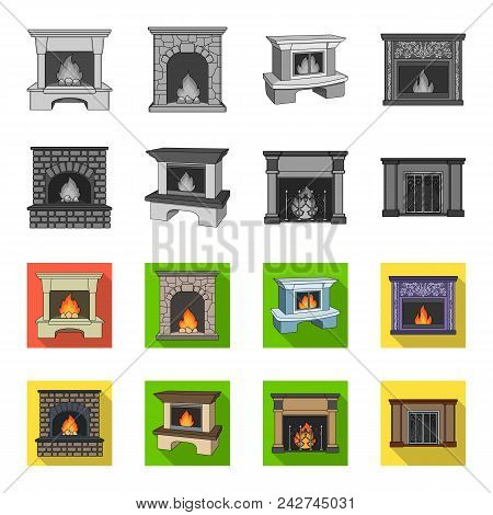 Fire, Warmth And Comfort.fireplace Set Collection Icons In Monochrome, Flat Style Vector Symbol Stoc