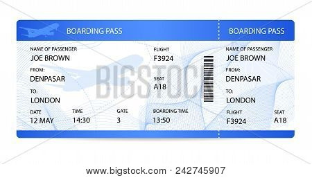 Boarding Pass (ticket, Traveler Check Template) With Aircraft (airplane Or Plane) Silhouette On Back