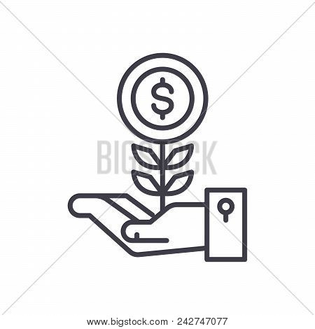 Initial Revenue Black Icon Concept. Initial Revenue Flat  Vector Website Sign, Symbol, Illustration.