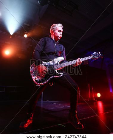 NEW YORK-DEC : Musician Pete Wentz of Fall Out Boy performs onstage at Pandora's Holiday Show at Pier 36 on December 10, 2015 in New York City.