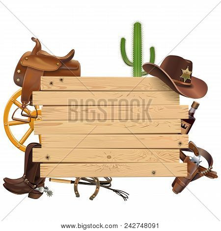 Vector Western Board With Cowboy Accessories Isolated On White Background
